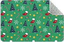 Zerbino natalizio verde, antiscivolo, lavabile in