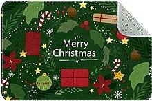 Zerbino verde Merry Christmas, antiscivolo,